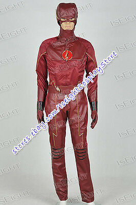 Flash Superhero Barry Allen Costume Uniform Suit Halloween Cool