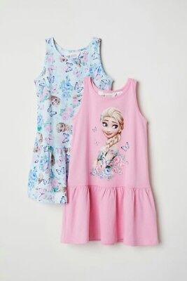 Kleid Von Elsa (Ärmelloses Mädchenkleid 2er set Von Anna Und Elsa H&M Neu Gr.98/104)