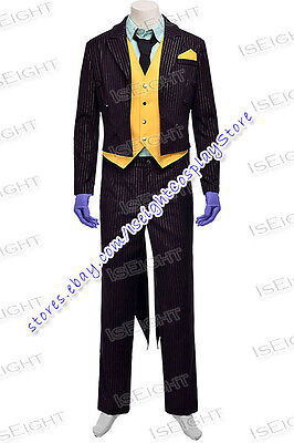 Arkham City The Joker Cosplay Costume Halloween Uniform Outfit Suit Male