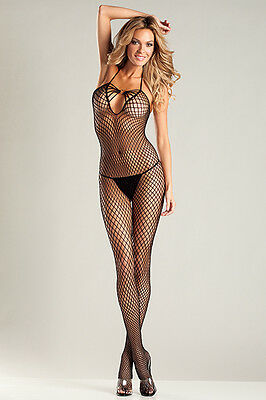 BW-21 Sexy Black Bareback Halter Neck Diamond Net Bodystocking  Body Stockings
