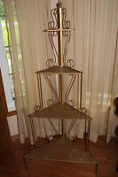 Hollywood Regency Decorative Gold Metal Corner What Not Shelf