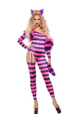 Sexy Starline Striped Trippy Kitty Cheshire Cat Catsuit 5pc Costume - Cheshire Cat Sexy Kostüm