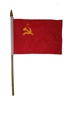 OLD USSR COUNTRY SMALL 4 X 6  MINI STICK FLAG WITH 10