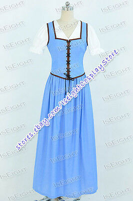 Once Upon a Time Belle Cosplay Costume Ladies Blue White Dress Halloween Party - Belle Once Upon A Time Halloween Costumes