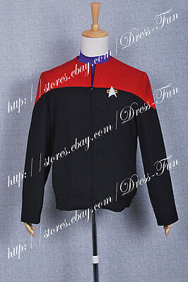 Star Trek Voyager Cosplay Command Costume Male Red Jacket Coat Halloween Party - Star Trek Halloween Party