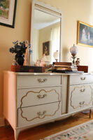 French provincial white and gold antique bedroom set