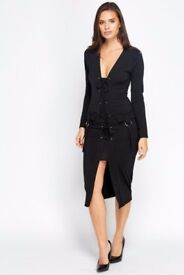 Brand New Black Tie Up Insert Midi Dress - size 8