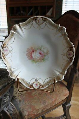 """Magnificent Antique RS Prussia Porcelain 11"""" Bowl with Pink Roses & Garlands"""