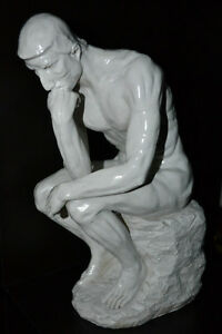 The Thinker repro sculpture by Auguste Rodin 13 inches tall MINT