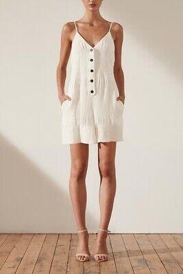 BNWT $255 Shona Joy Chiaro linen flared romper - ivory Size 4