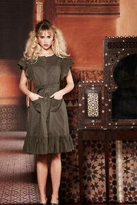 POP By PPQ Hassa Frill Dress In Khaki Size 8