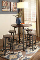 Ashley Furniture Pub Table & 4 Bar Stools