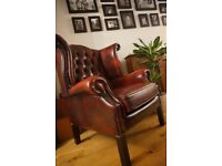 Oxblood Chesterfield leather wingback chair armchair