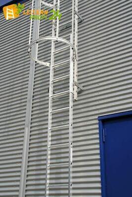 Günzburger Einzügige Steigleiter mit Rückenschutz, Aluminium blank