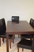 Dining table 6 chairs Harvey Norman, solid wooden table REDUCED Labrador Gold Coast City Preview