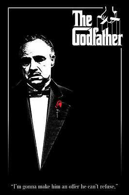 The Godfather red rose 24x36 poster Don Vito Italian mob Iconic Deniro Pacino!!!
