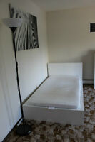 White Ikea Bed with Ikea Reading Chair $220