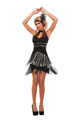 Sexy Starline Flirty Flapper Black & Silver Dress 2pc Costume S5370