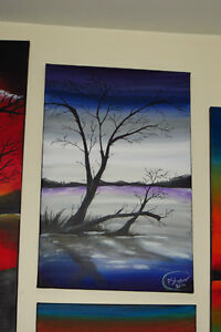 Acrylic Painting - Bare Tree/Purple Skyline - (reduced) Regina Regina Area image 1