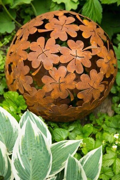 Dekokugel, Rost Ø 35cm Blume Deko-Kugel Gartenkugel Edelrost Kugel