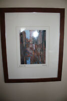 Venice waterscape painting, framed