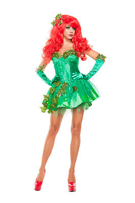 Green Ivy Costumes (Sexy Starline Green Poison Ivy Seductress Dress 3pc Costume)