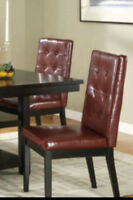 DINING CHAIR IN RED BONDED LEATHER