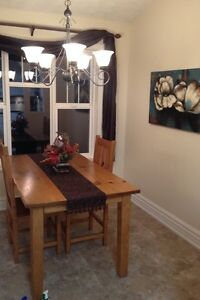 Beautiful wood table - seats 6! Comes with two captains chairs! Strathcona County Edmonton Area image 3