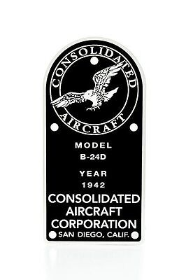 Consolidated B-24D Liberator, WWII, Vintage Aviation Data Plate, Bomber DPL-0107