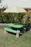 Kids Picnic Table, Sand/Water Table and Slide Combo