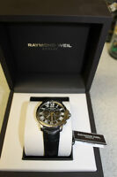 RAYMOND WEIL Tango Black Dial Chronograph Black Leather Strap