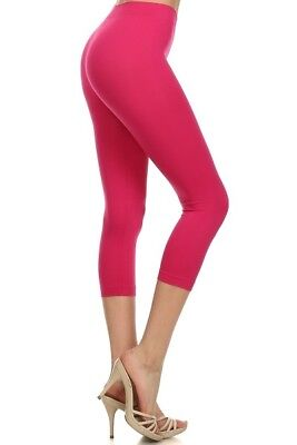 Seamless Capri Leggings - Womens Seamless Capri Leggings Nylon 3/4 Cropped One Size Stretches Regular Plus
