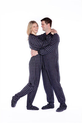 Black & White Plaid Cotton Flannel Sleeper Adult Footed Pajamas w/ Drop-seat ()