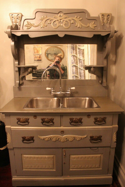 GORGEOUS GREY HUTCH WITH SINK Hutches Display Cabinets