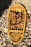 Old leather  and wooden snow shoes