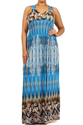 Plus Size Tribal Dress (Womens Plus Size Tribal Paisley Print Summer Beach Smocked Maxi Dress 2X 3X)
