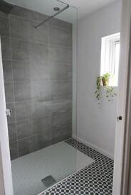 Wet room walk in shower screen - glass | single fixture