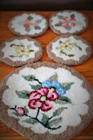 VINTAGE 1930'-1950 FLORA'S HAND HOOKED COASTERS AND MAT