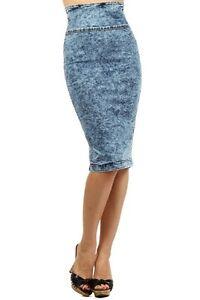 high waisted denim skirt ebay