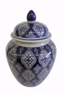 Chinese Oriental Blue & White Porcelain Ginger Jar, Urn, Vase
