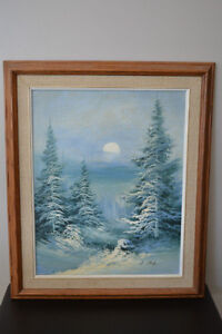 "WINTER SCENE OIL ON CANVAS PAINTING 22"" X 26"" SIGNED"