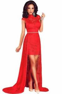 Red Cap Sleeve Party Dress With Train Size 8, 10 Ascot Brisbane North East Preview
