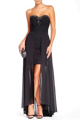 ISSUE New York Black Beaded Rhinestone Sweetheart Ruched Dress Chiffon Gown 6 US Black Chiffon Sweetheart Beading