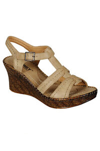 Womens-New-Beige-Casual-Wedges-Heels-Platform-Ladies-Comfy-Sandals-Girls-Shoes