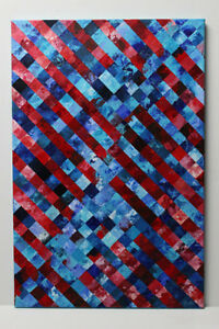 Original Blue and Red Hard Edge Abstract Painting on Canvas