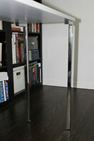 White laminate console table with chrome legs
