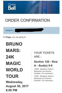 Bruno Mars Aug. 30, 2017 Tickets!   West Island Greater Montréal image 2