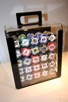 1000 UNUSED NHL POKER CHIP SET IN ACRYLIC CASE AWESOME AND RARE