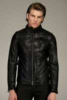 MACKAGE MENS BLACK LEATHER MOTO BIKER JACKET SIZE 42
