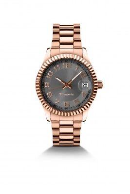 TAMARIS Uhr Debby B07202030 Damen Armbanduhr Edelstahl Datum rotgold-farbig
